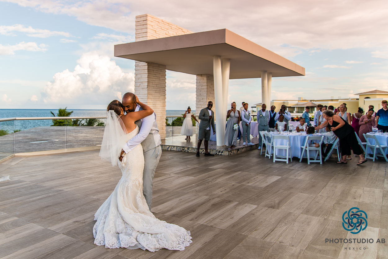 Destination Wedding Photography Cancun Doentary Photographer Mexico First Dance Rooftop Grand Moon Palace